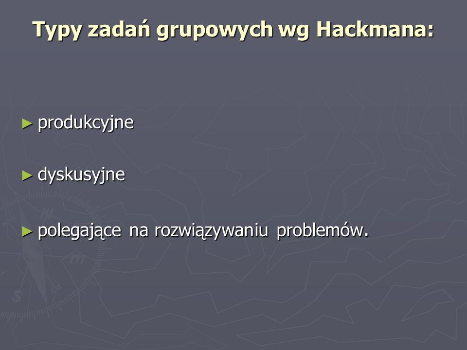 Typy zadań grupowych wg Hackmana: