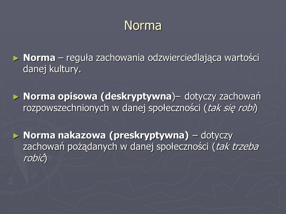 Norma Norma – reguła zachowania odzwierciedlająca wartości danej kultury.