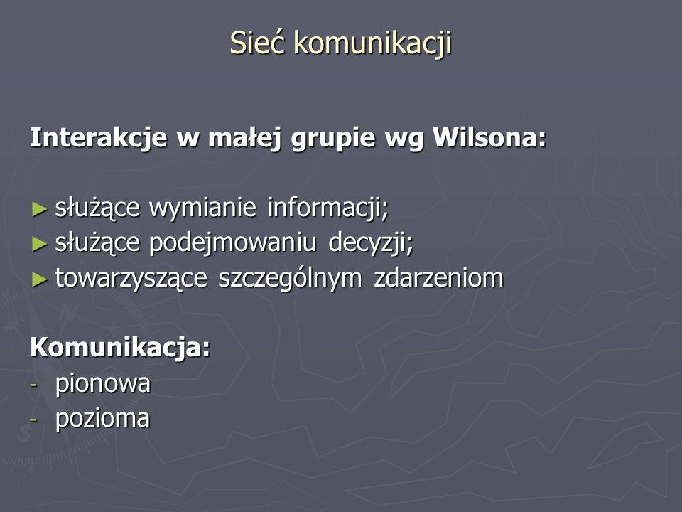 Sieć komunikacji Interakcje w małej grupie wg Wilsona: