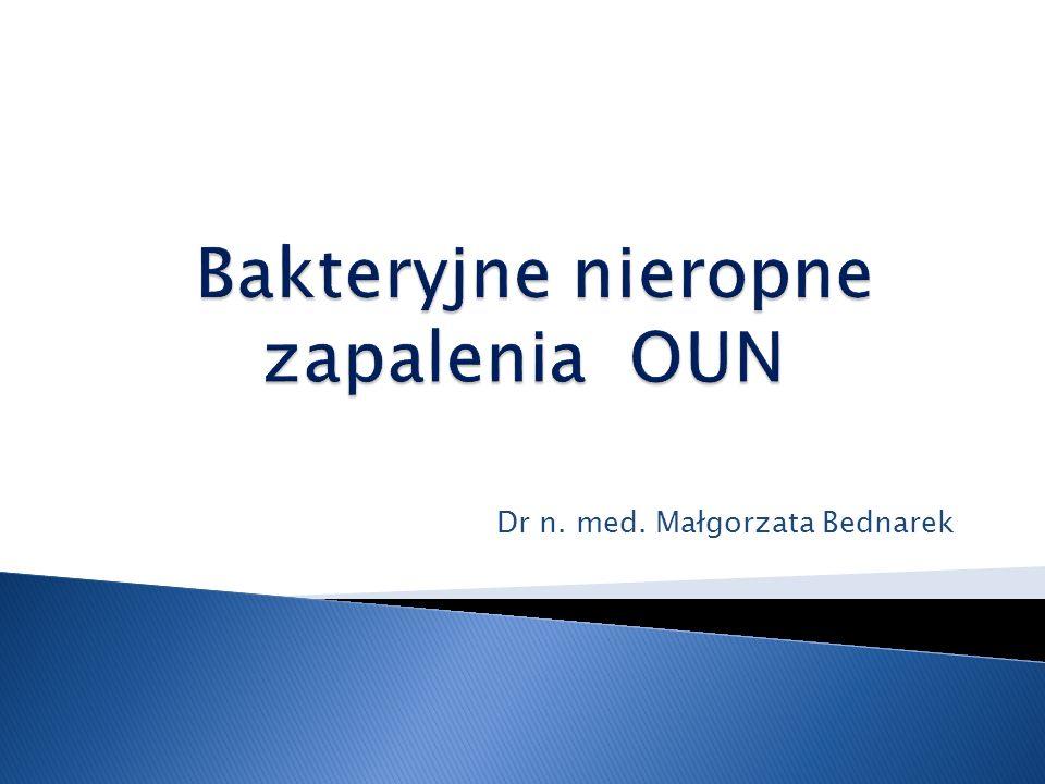 Bakteryjne nieropne zapalenia OUN