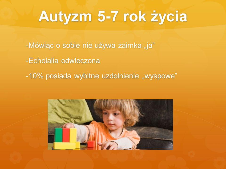 """Autyzm 5-7 rok życia -Mówiąc o sobie nie używa zaimka """"ja -Echolalia odwleczona -10% posiada wybitne uzdolnienie """"wyspowe"""