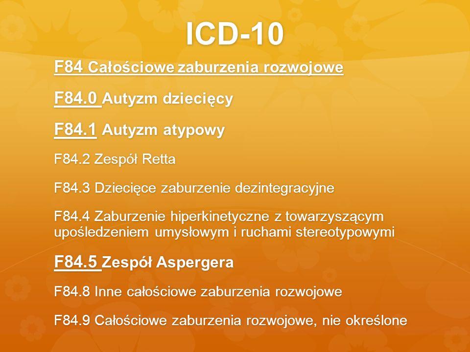 ICD-10 F84 Całościowe zaburzenia rozwojowe F84.0 Autyzm dziecięcy