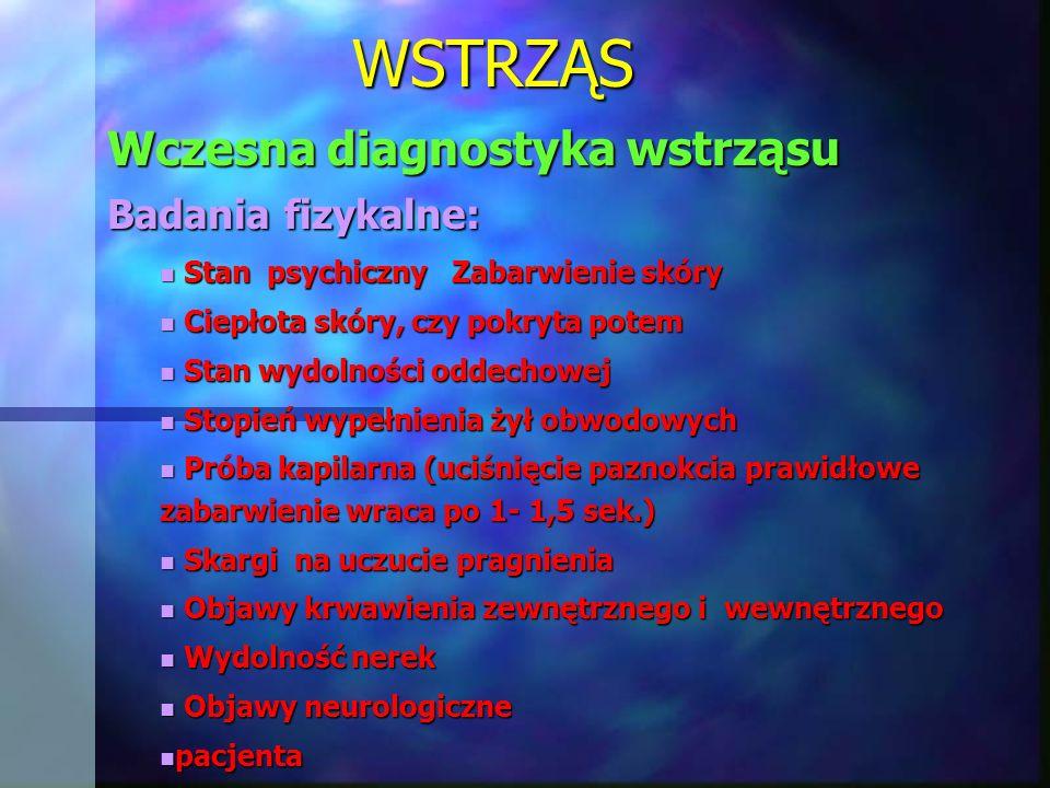 WSTRZĄS Wczesna diagnostyka wstrząsu Badania fizykalne: