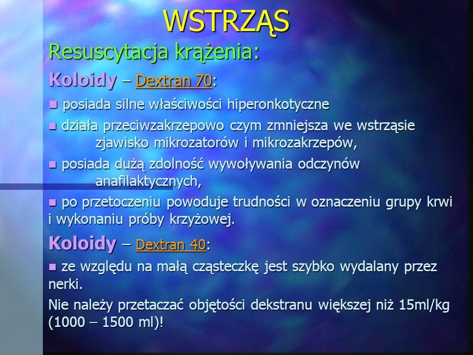 WSTRZĄS Resuscytacja krążenia: Koloidy – Dextran 70: