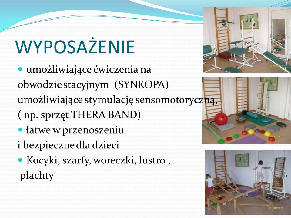 WYPOSAŻENIE umożliwiające ćwiczenia na obwodzie stacyjnym (SYNKOPA)