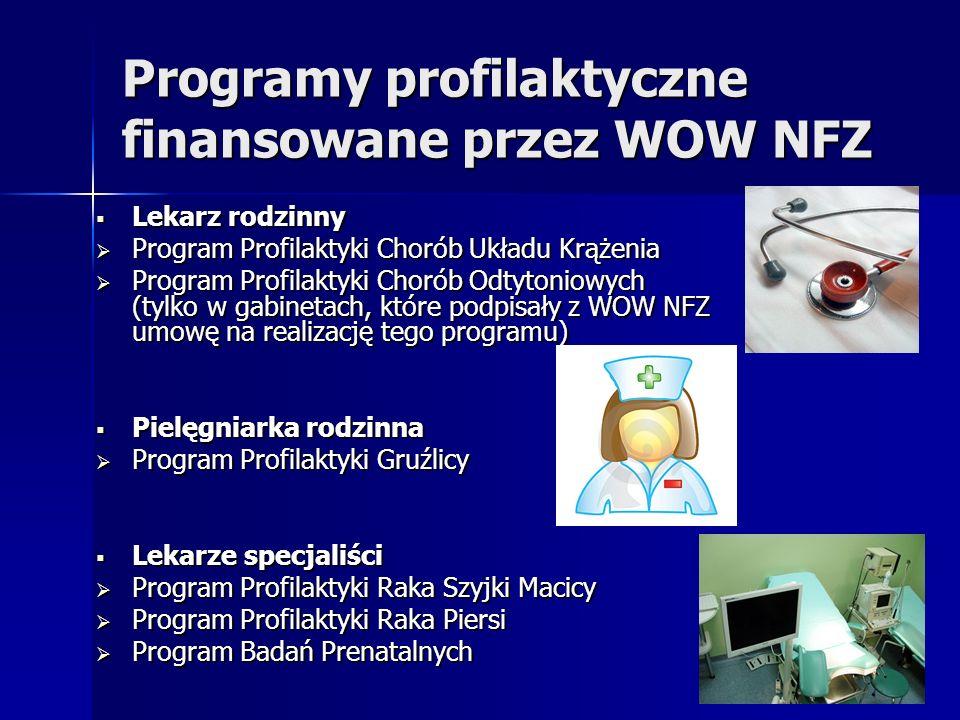 Programy profilaktyczne finansowane przez WOW NFZ