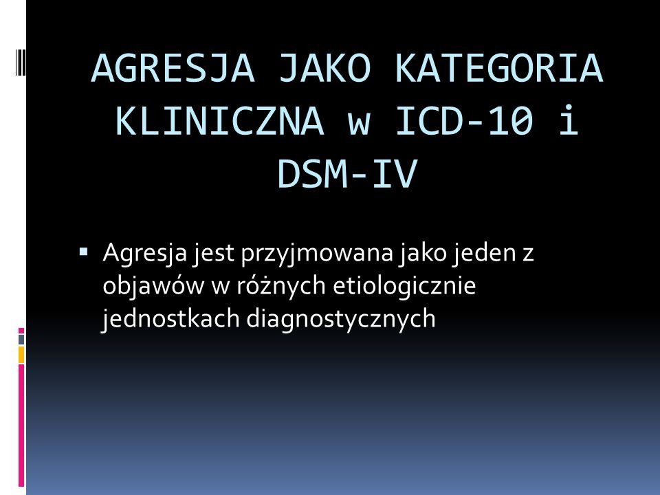 AGRESJA JAKO KATEGORIA KLINICZNA w ICD-10 i DSM-IV