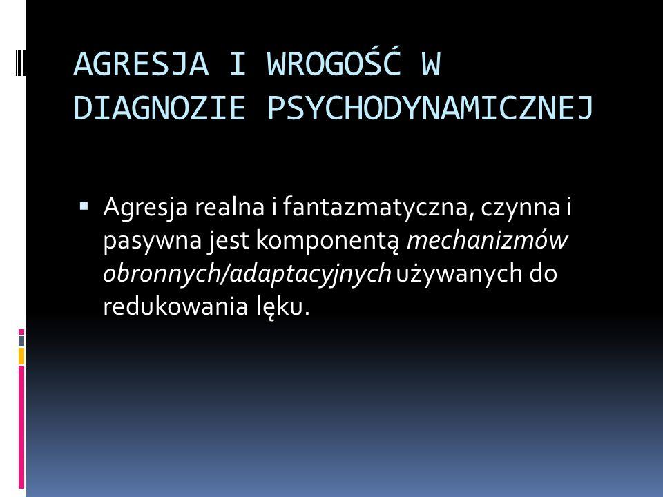 AGRESJA I WROGOŚĆ W DIAGNOZIE PSYCHODYNAMICZNEJ