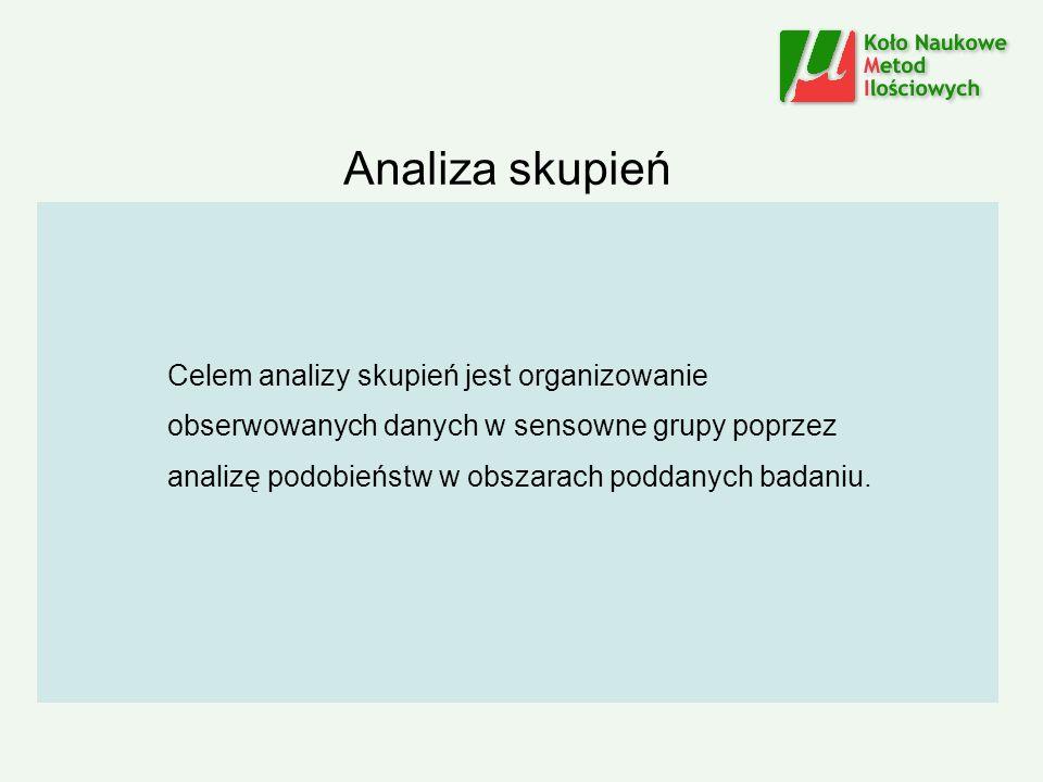 Analiza skupień Celem analizy skupień jest organizowanie