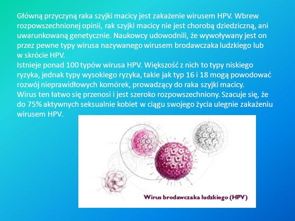 Główną przyczyną raka szyjki macicy jest zakażenie wirusem HPV
