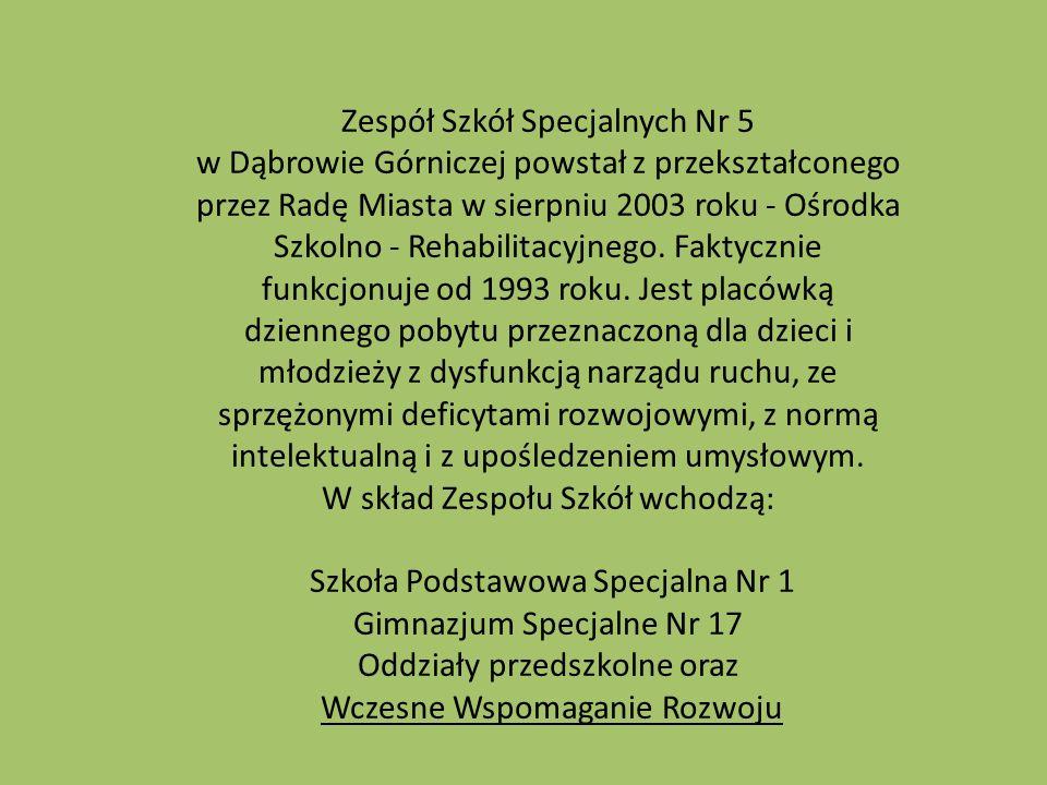 Zespół Szkół Specjalnych Nr 5 w Dąbrowie Górniczej powstał z przekształconego przez Radę Miasta w sierpniu 2003 roku - Ośrodka Szkolno - Rehabilitacyjnego.