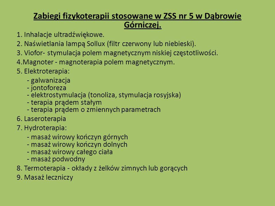 Zabiegi fizykoterapii stosowane w ZSS nr 5 w Dąbrowie Górniczej.