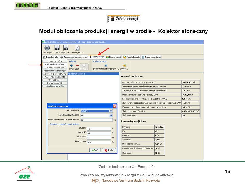 Moduł obliczania produkcji energii w źródle - Kolektor słoneczny