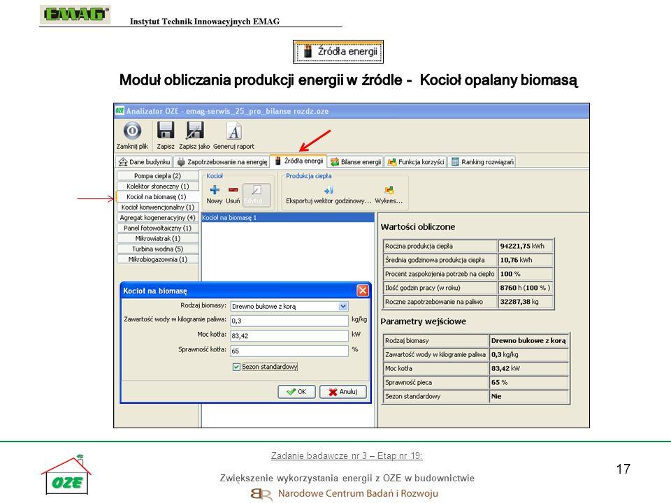 Moduł obliczania produkcji energii w źródle - Kocioł opalany biomasą