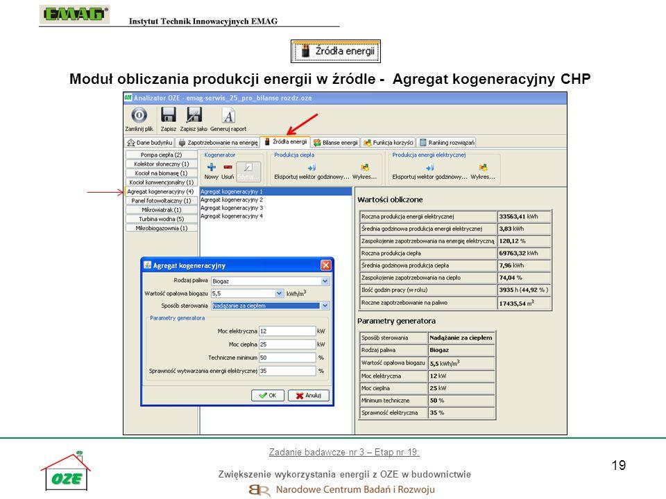 Moduł obliczania produkcji energii w źródle - Agregat kogeneracyjny CHP