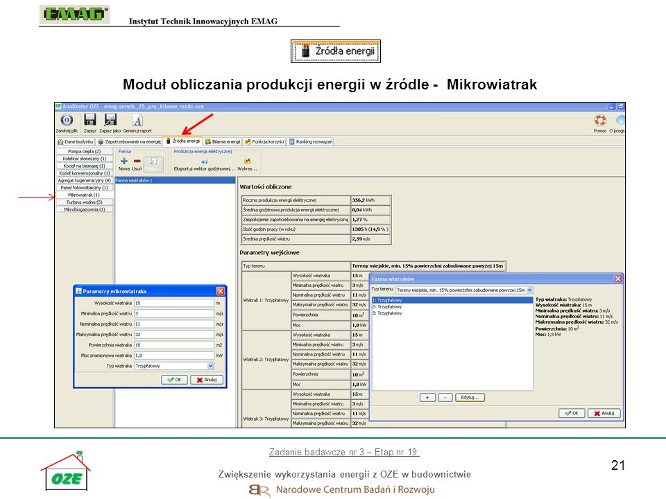 Moduł obliczania produkcji energii w źródle - Mikrowiatrak