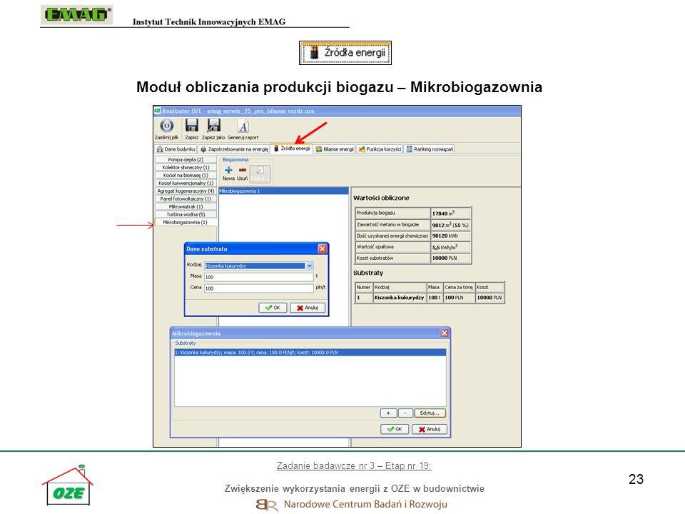 Moduł obliczania produkcji biogazu – Mikrobiogazownia