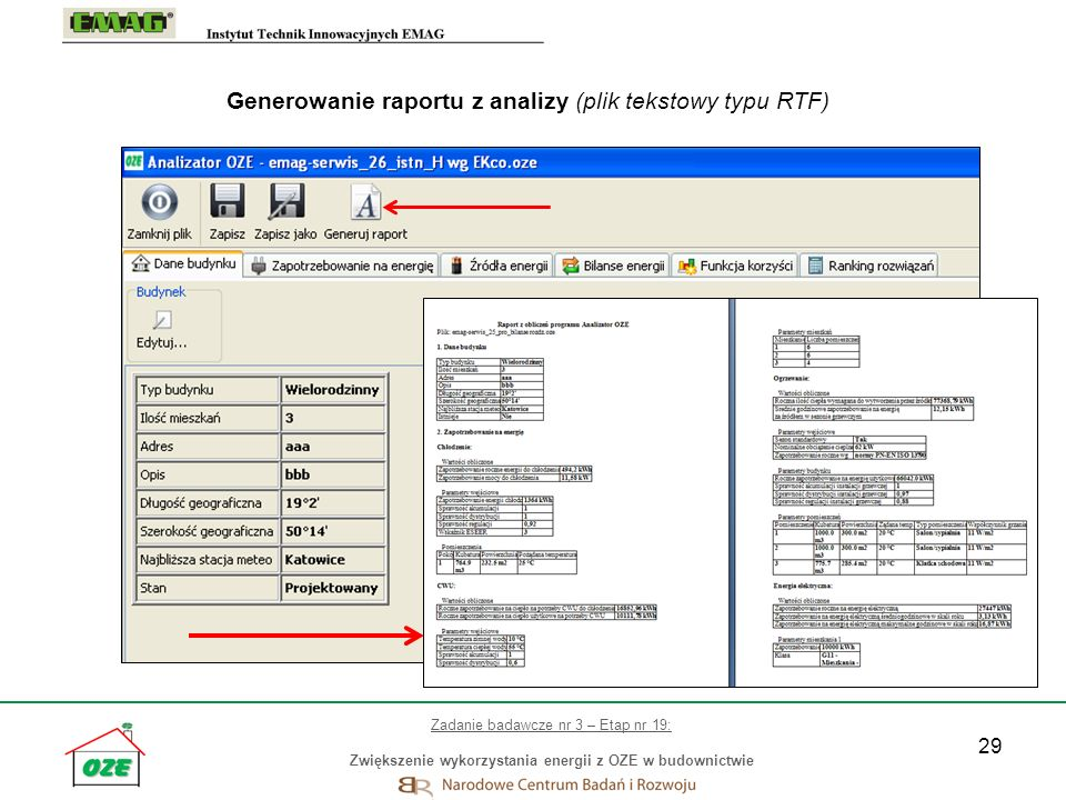 Generowanie raportu z analizy (plik tekstowy typu RTF)