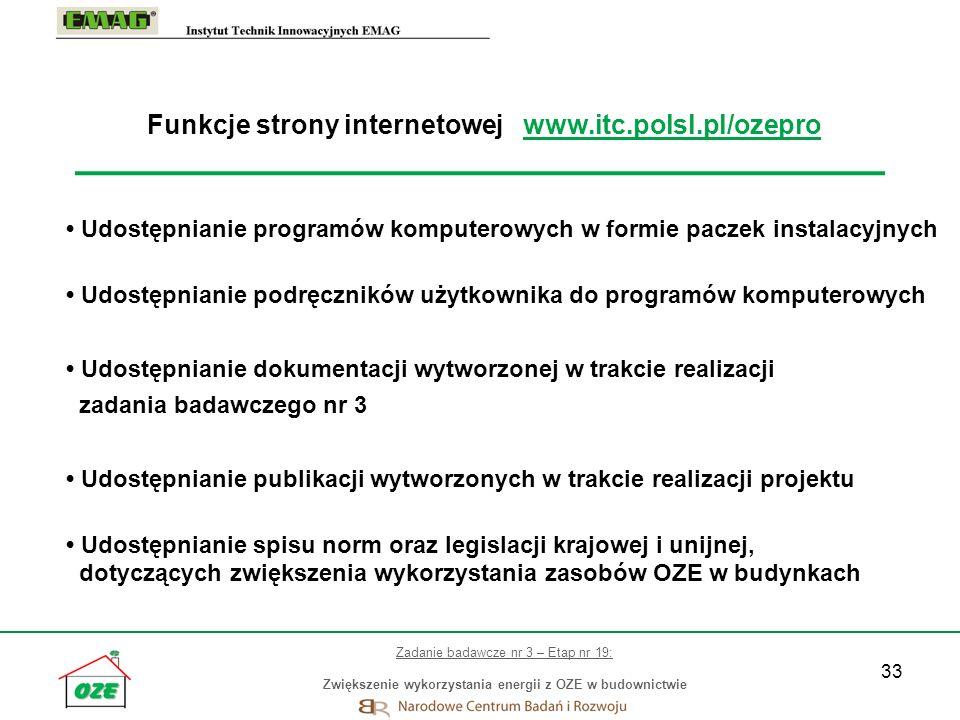 Funkcje strony internetowej www.itc.polsl.pl/ozepro