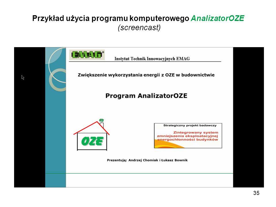 Przykład użycia programu komputerowego AnalizatorOZE (screencast)