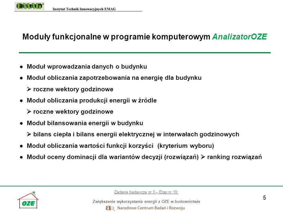 Moduły funkcjonalne w programie komputerowym AnalizatorOZE