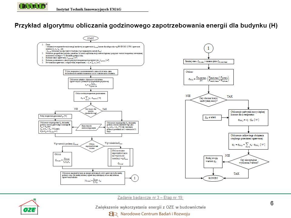 Przykład algorytmu obliczania godzinowego zapotrzebowania energii dla budynku (H)