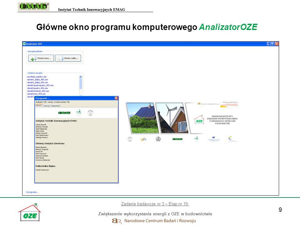 Główne okno programu komputerowego AnalizatorOZE