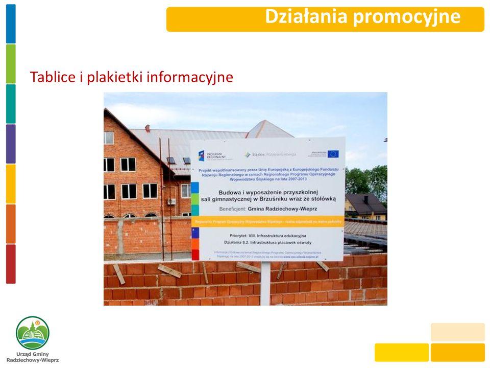 Działania promocyjne Tablice i plakietki informacyjne