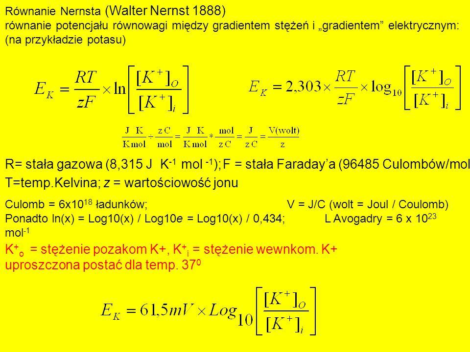 R= stała gazowa (8,315 J K-1 mol -1);