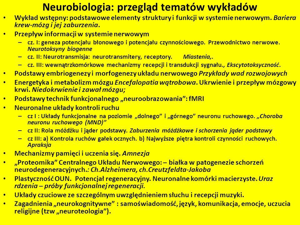 Neurobiologia: przegląd tematów wykładów