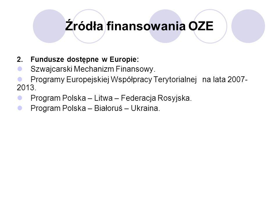 Źródła finansowania OZE