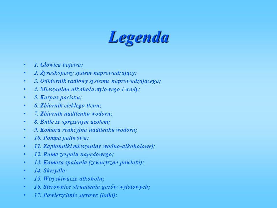 Legenda 1. Głowica bojowa; 2. Żyroskopowy system naprowadzający;
