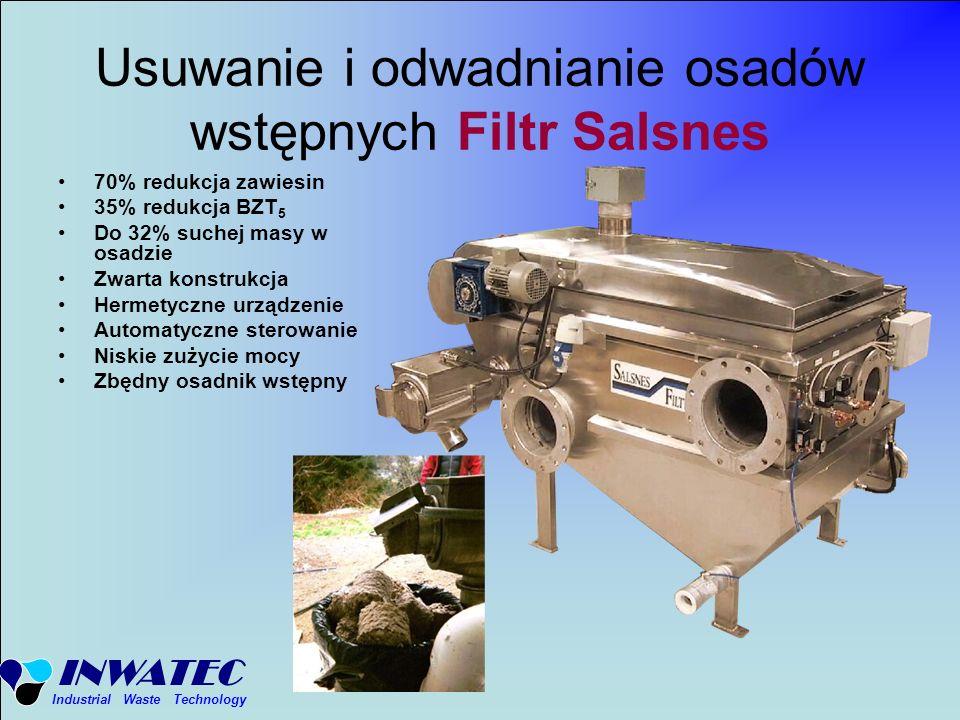 Usuwanie i odwadnianie osadów wstępnych Filtr Salsnes
