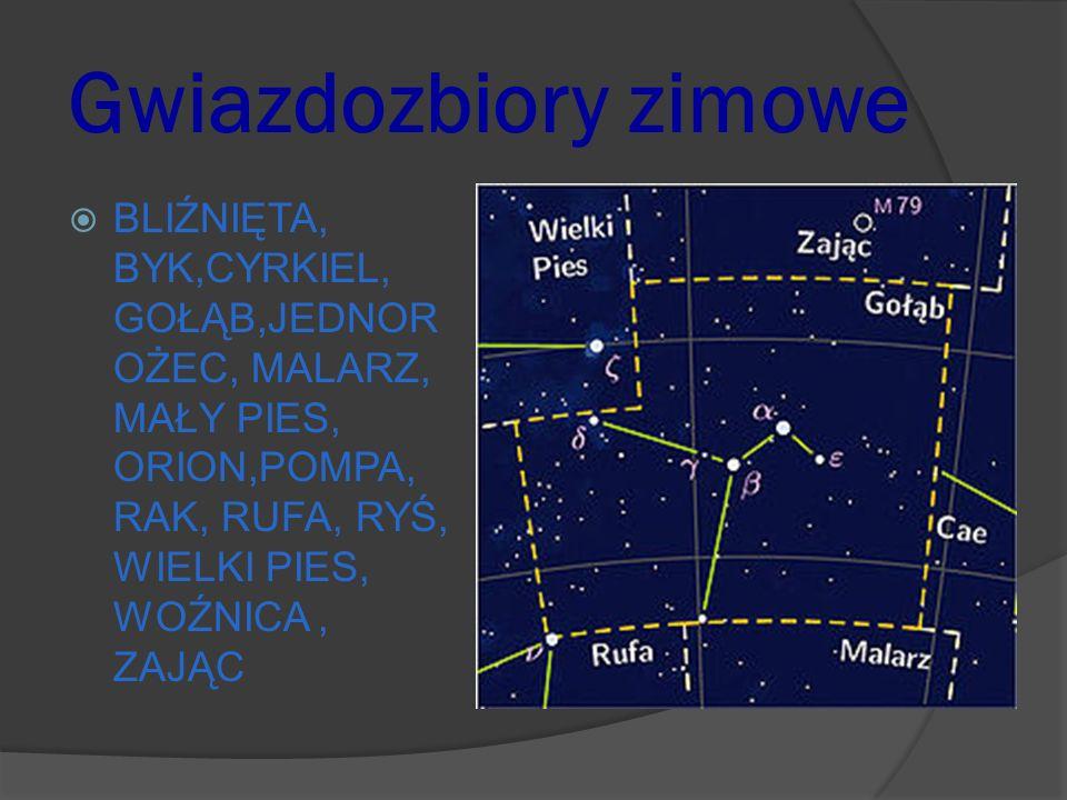 Gwiazdozbiory zimowe BLIŹNIĘTA, BYK,CYRKIEL, GOŁĄB,JEDNOROŻEC, MALARZ, MAŁY PIES, ORION,POMPA, RAK, RUFA, RYŚ, WIELKI PIES, WOŹNICA , ZAJĄC.