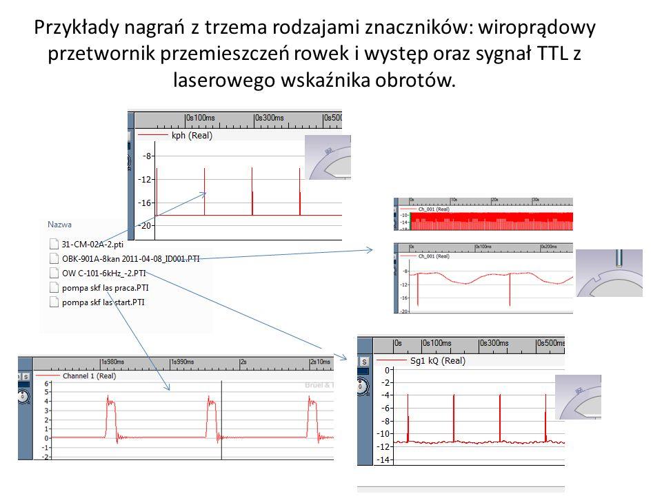 Przykłady nagrań z trzema rodzajami znaczników: wiroprądowy przetwornik przemieszczeń rowek i występ oraz sygnał TTL z laserowego wskaźnika obrotów.