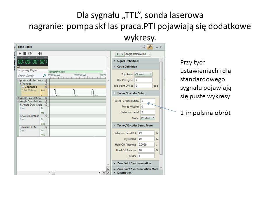 """Dla sygnału """"TTL , sonda laserowa nagranie: pompa skf las praca"""