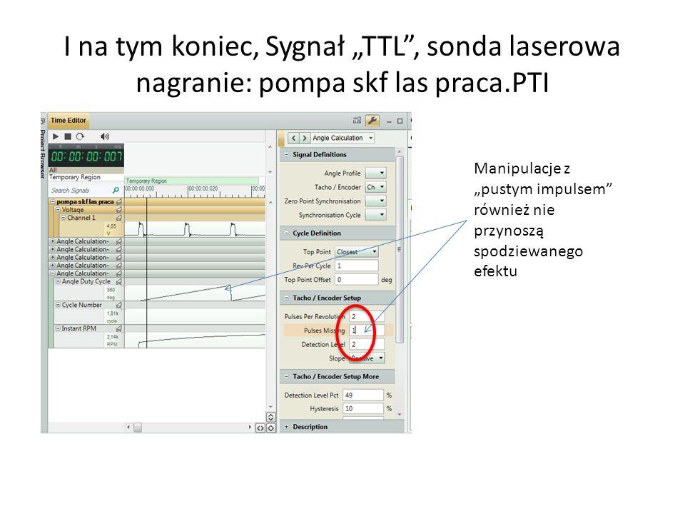 """I na tym koniec, Sygnał """"TTL , sonda laserowa nagranie: pompa skf las praca.PTI"""