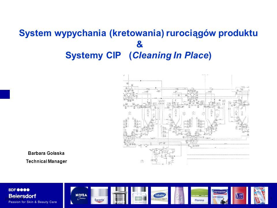 System wypychania (kretowania) rurociągów produktu & Systemy CIP (Cleaning In Place)