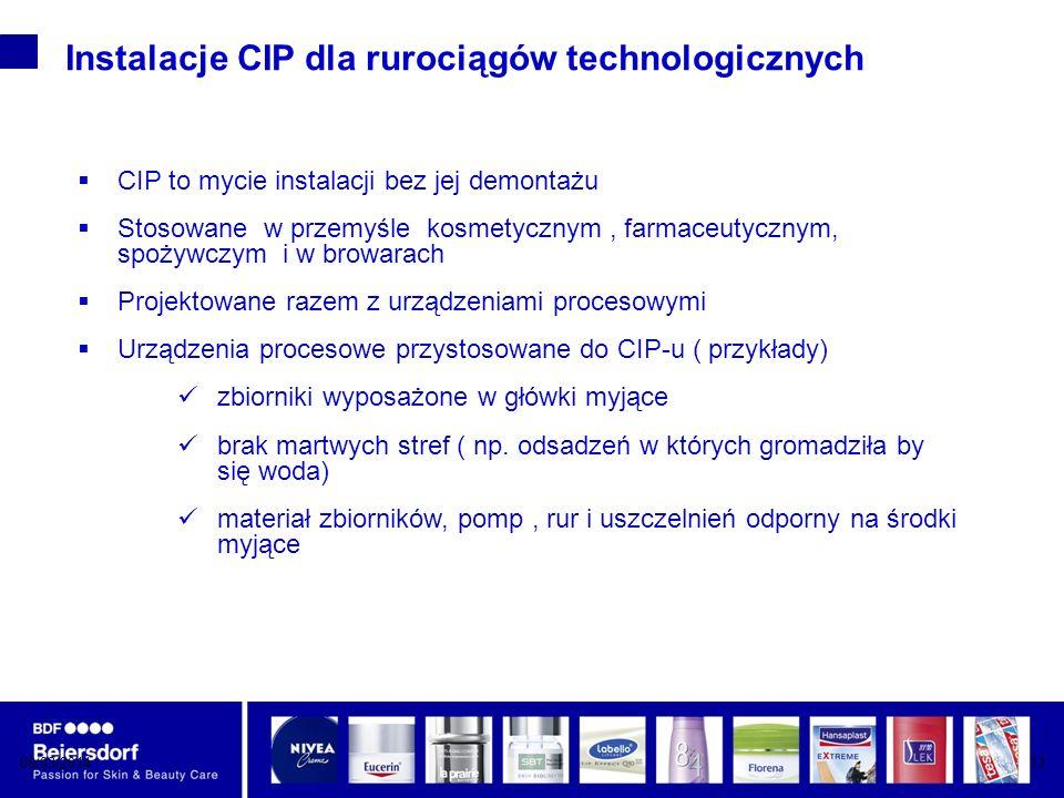 Instalacje CIP dla rurociągów technologicznych