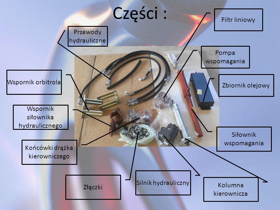 Części : Filtr liniowy Przewody hydrauliczne Pompa wspomagania