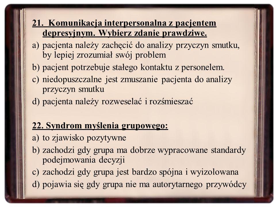21. Komunikacja interpersonalna z pacjentem depresyjnym