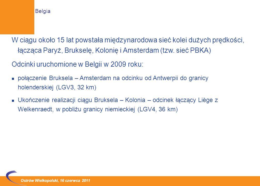 Odcinki uruchomione w Belgii w 2009 roku: