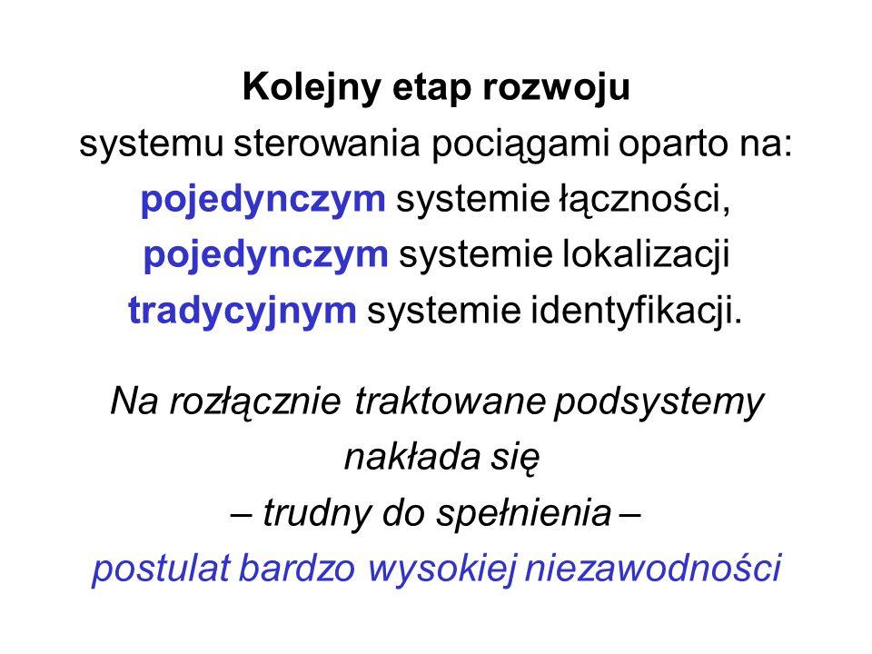 Kolejny etap rozwoju systemu sterowania pociągami oparto na: pojedynczym systemie łączności, pojedynczym systemie lokalizacji tradycyjnym systemie identyfikacji.