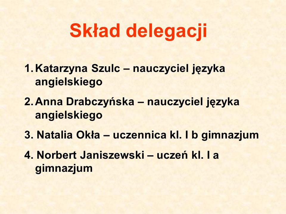 Skład delegacji Katarzyna Szulc – nauczyciel języka angielskiego