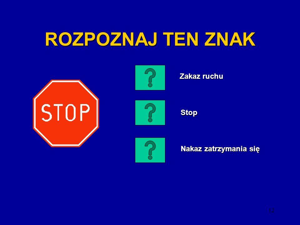 ROZPOZNAJ TEN ZNAK Zakaz ruchu Stop Nakaz zatrzymania się