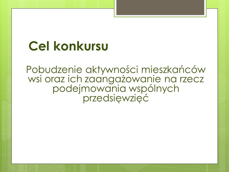Cel konkursu Pobudzenie aktywności mieszkańców wsi oraz ich zaangażowanie na rzecz podejmowania wspólnych przedsięwzięć.
