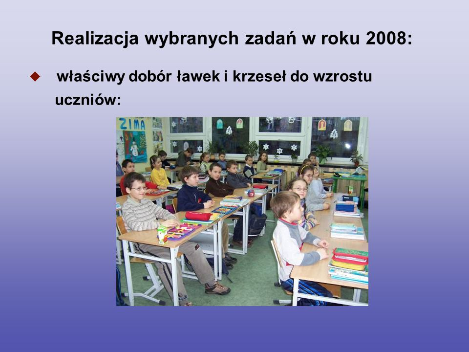 Realizacja wybranych zadań w roku 2008: