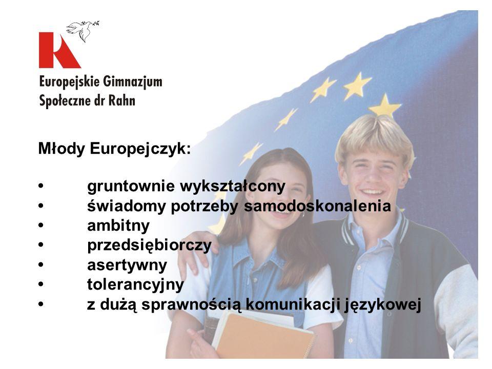 Młody Europejczyk: • gruntownie wykształcony. • świadomy potrzeby samodoskonalenia. • ambitny. • przedsiębiorczy.