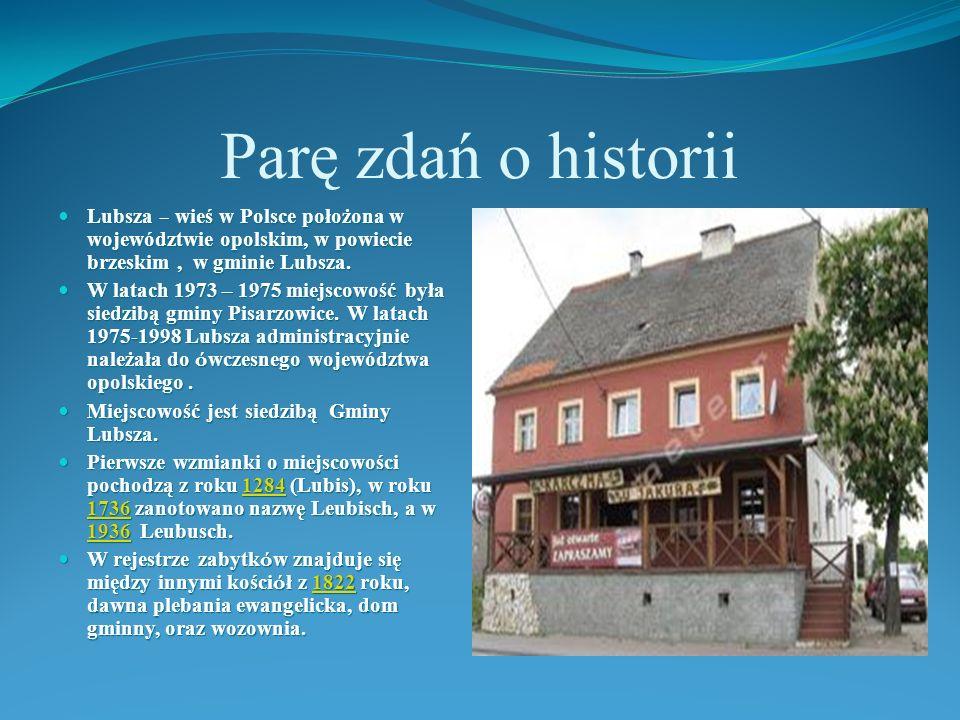 Parę zdań o historii Lubsza – wieś w Polsce położona w województwie opolskim, w powiecie brzeskim , w gminie Lubsza.