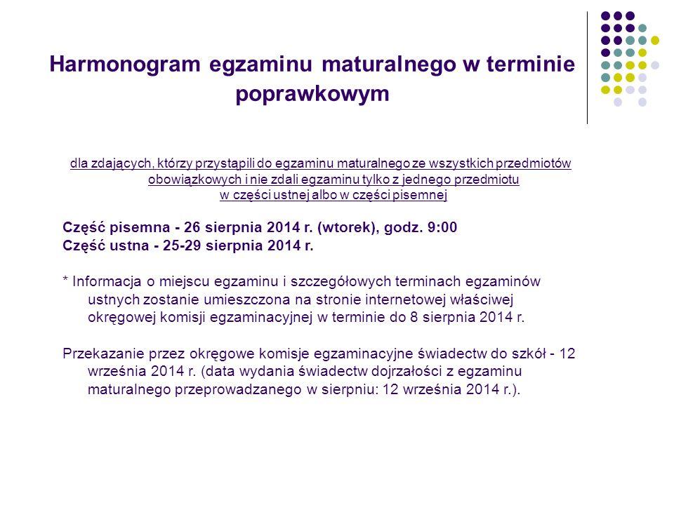 Harmonogram egzaminu maturalnego w terminie poprawkowym